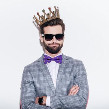 Men's Fleur-de-lis Purple Banded Bow Tie