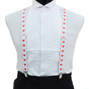 Men's Y-Back Red Heart Adjustable Elastic White Clip-on Suspenders