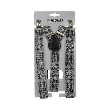 6pc Men's Y-Back Spiderweb Adjustable Elastic Black Clip-on Suspenders