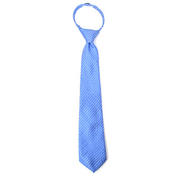 "Boy's 14"" Geometric Light Blue Zipper Tie"