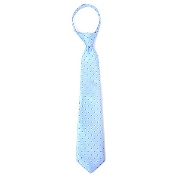 "Boy's 14"" Geometric Dot Sky Blue Zipper Tie"