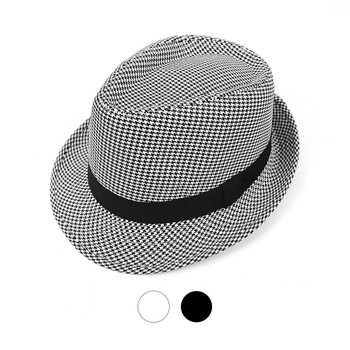 Fall/Winter Hounds Tooth Trilby Fedora Hat with Black Band Trim - H10331