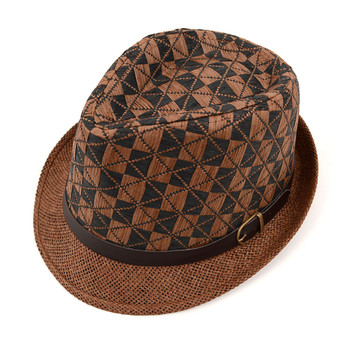 Spring/Summer Two-Tone Woven Brown Fedora Hat with Faux Leather Trim - H10209