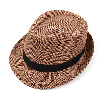 Fall/Winter Hounds Tooth Brown Trilby Fedora Hat with Band Trim - H10335N