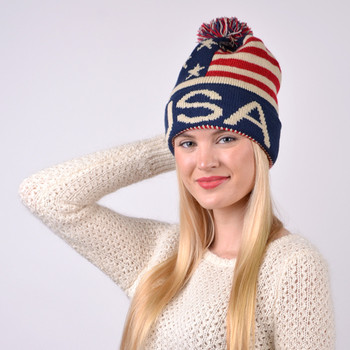 Unisex American Flag Knit Pom Beanie Ski Hats  With USA- AFHAT01