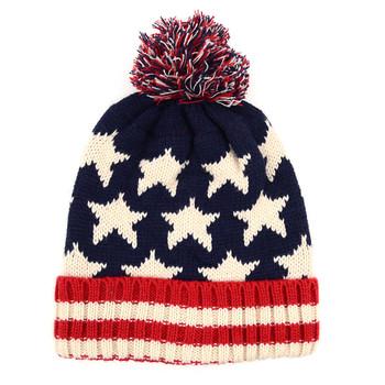 Kid's American Flag Knit Pom Beanie Ski Hats - AFBHAT