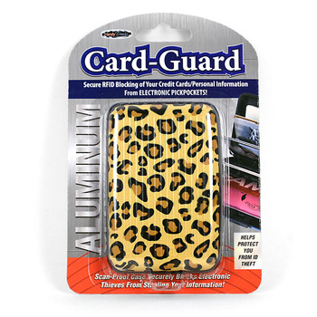 Card Guard Aluminum Compact Wallet Credit Card Holder with RFID Protection - Leopard