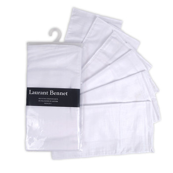 Men's Plain White 6pcs Handkerchiefs HTC006