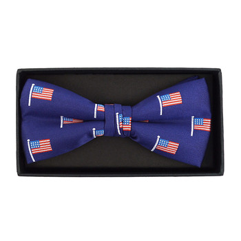 Men's Blue American Flag Banded Bow Tie- NFB10027