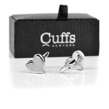 Silver Love Heart Novelty Cufflink NCL1708-1