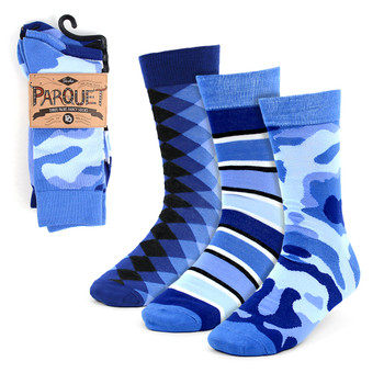 3pcs (3 Pairs) Men's Blue Casual Fancy Socks 3PKS/BL