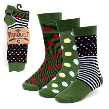 3pcs (3 Pairs) Men's Green Casual Fancy Socks 3PKS/FB