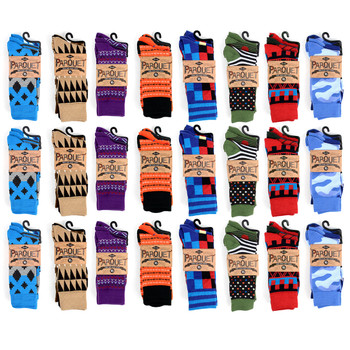 24-Packs (72 Pairs) Assorted Men's Casual Fancy Socks 3PKS/ASST