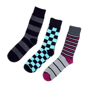 Fancy Multi Colored Socks Striped Gift Box (3 Pairs in Box) MFS1008