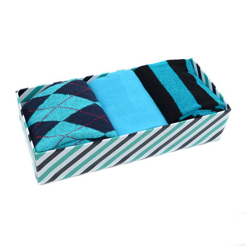 Fancy Multi Colored Socks Striped Gift Box (3 Pairs in Box) MFS1012