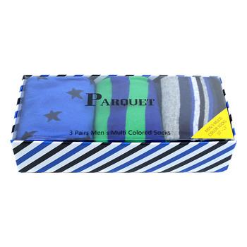 Fancy Multi Colored Socks Striped Gift Box (3 Pairs in Box) MFS1013