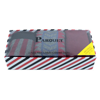 Fancy Multi Colored Socks Striped Gift Box (3 Pairs in Box) MFS1016
