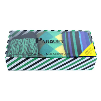 Fancy Multi Colored Socks Striped Gift Box (3 Pairs in Box) MFS1017