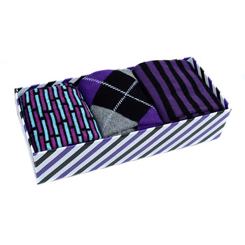 Fancy Multi Colored Socks Striped Gift Box (3 Pairs in Box) MFS1026