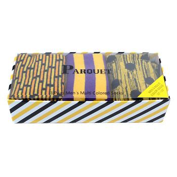 Fancy Multi Colored Socks Striped Gift Box (3 Pairs in Box) MFS1028