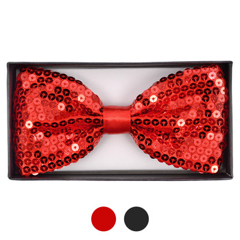 "Men's 2.5"" Large Sparkle Sequin Banded Bow Ties SQBTXL"