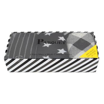 Fancy Multi Colored Socks Striped Gift Box (3 Pairs in Box) MFS1009