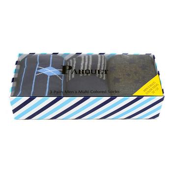 Fancy Multi Colored Socks Striped Gift Box (3 Pairs in Box) MFS1020