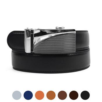 Men's Genuine Leather Sliding Buckle Ratchet Belt MGLBB6