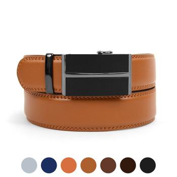 Men's Genuine Leather Sliding Buckle Ratchet Belt MGLBB7