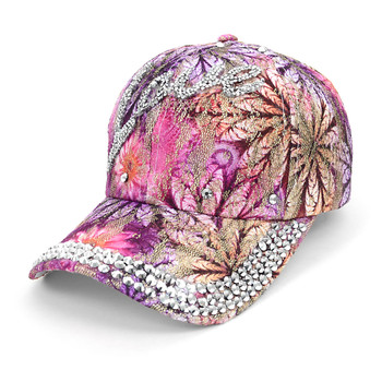 """Love"" Bling Studs Pink Flower Baseball Cap, Hat CFP9584P"