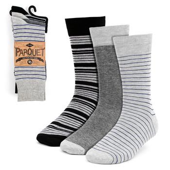 3pcs (3 Pairs) Men's Gray Striped Fancy Dress Socks 3PKS-DRSY2