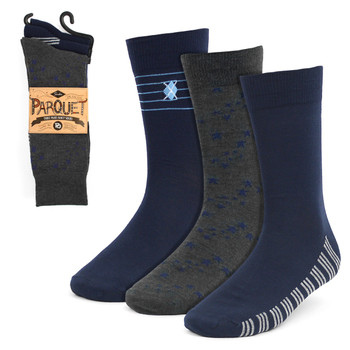 3pcs (3 Pairs) Men's Navy Fancy Dress Socks 3PKS-DRSY4