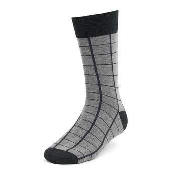 3pcs (3 Pairs) Men's Black Striped Fancy Dress Socks 3PKS-DRSY5
