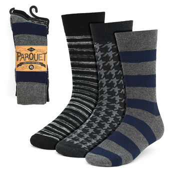 3pcs (3 Pairs) Men's Gray Fancy Dress Socks 3PKS-DRSY7
