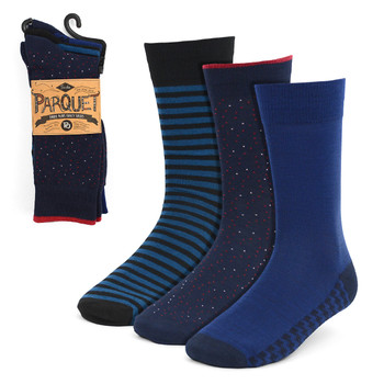 3pcs (3 Pairs) Men's Blue Fancy Dress Socks 3PKS-DRSY8