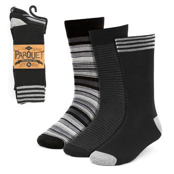 3pcs (3 Pairs) Men's Black & Gray Striped Fancy Dress Socks 3PKS-DRSY9