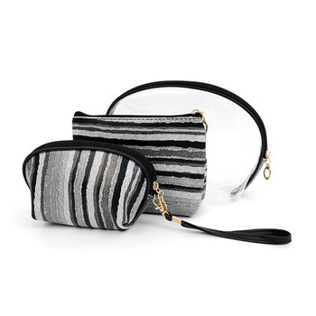 3pc Gray and Black Striped Cosmetic Bags with attached Mirror LNCB1601