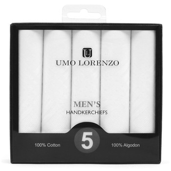 Men's 5pc Boxed Plain Cotton Handkerchiefs HB005