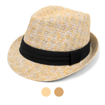 Spring/Summer Twill Weave Fashion Fedora with Tinsel Strips & Black Band FSS17115