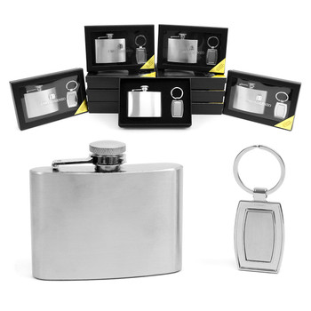 12pc. Boxed Silver Tone Flask & Keychain Set FK1001/ASST