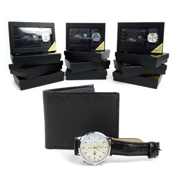 12pc Assorted Pack Black Watch & Wallet Sets WW2020BK