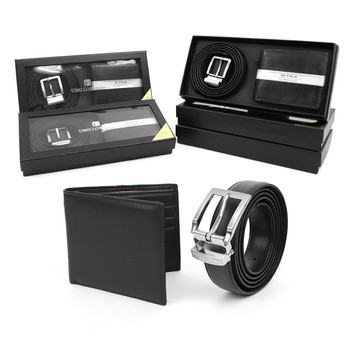 12pc Men's Black Wallet & Belt Set WB2010BK/ASST