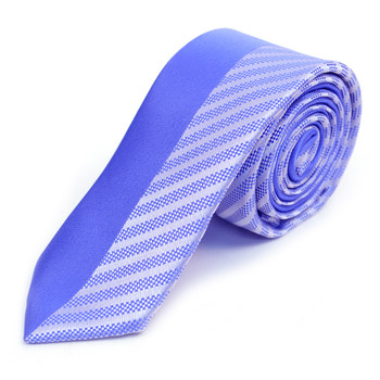"French Blue Microfiber Poly Woven 2.25"" Slim Panel Tie - MPPW1602"