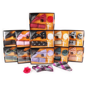 12pc Assorted Pack Men's Boxed Pattern Micro Bow Tie and Hanky with Lapel Pin Set BTHLB4000