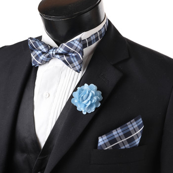 12pc Assorted Pack Men's Boxed Fancy Micro Bow Tie and Hanky with Lapel Pin Set BTHLB5000