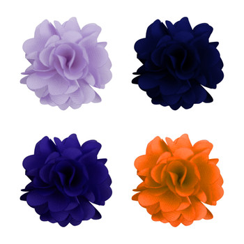 Assorted Solid Mini Bouquet Clutch Back Flower Lapel Pin 4pc Combo Set 4FLP-PRP