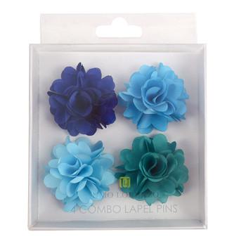 Assorted Solid Mini Bouquet Clutch Back Flower Lapel Pin 4pc Combo Set 4FLP-TURQ