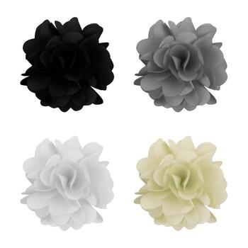Assorted Solid Mini Bouquet Clutch Back Flower Lapel Pin 4pc Combo Set 4FLP-WHT