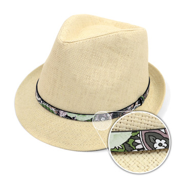Spring/Summer Woven Fashion Fedora with Floral Band FSS17118