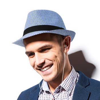 Spring/Summer Striped Fashion Fedora with Black Band FSS17102
